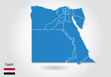 Egypt Map Design With 3D Style. Blue Egypt Map And National Flag. Simple Vector Map With Contour, Shape, Outline, On White.