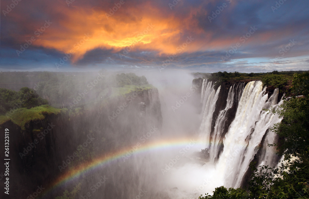 Fototapety, obrazy: Victoria Falls sunset with rainbow, Zambia