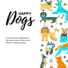 Vector Illustration With Hand Drawn Sketch Style Cute Doggies. Place For  Text. Banner For Pet Shop, Invitation, Dog Cafe, Show, Grooming, Flyers.