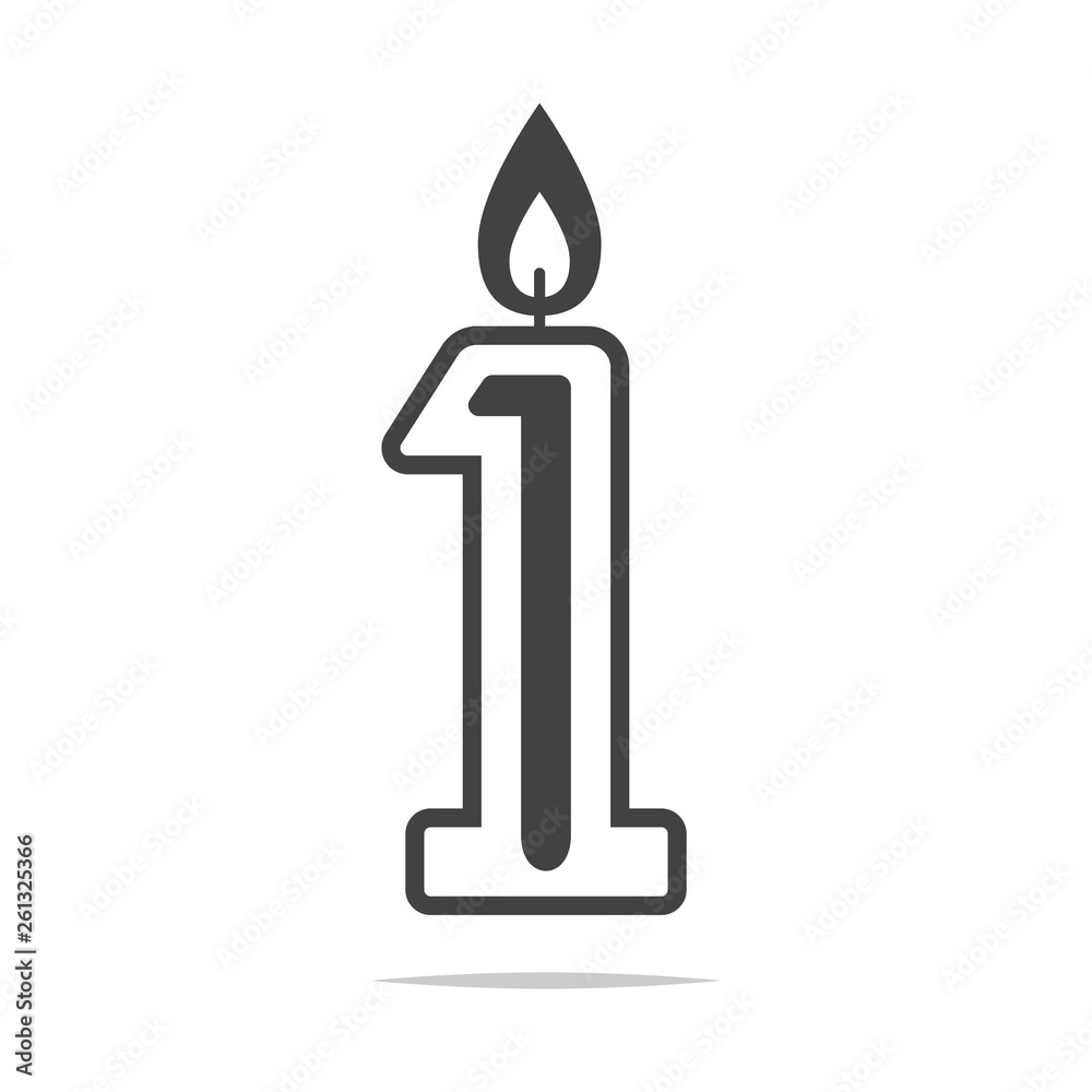 Fototapeta Number 1 first candle icon