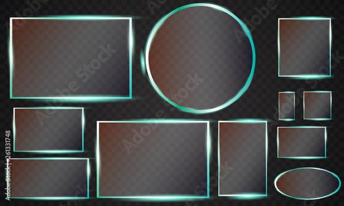 Fotografía  Glass plates set. Vector glass banners on transparent background
