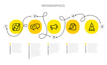 Vector Infographic Template With Curl Path With Number Options And Steps, Business Yellow Circle Icons, Words, Text On White Background.