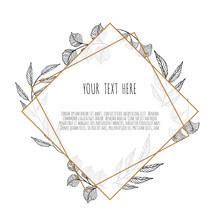 Vector Floral Design Card. Greeting, Postcard Wedding Invite Template. Elegant Frame With Plant Branch
