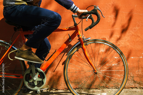 Aluminium Prints Bicycle Abstract background with a bicycle on nature. Bike cyclist riding at sunrise healthy lifestyle active athlete doing sport.steering wheel, pedals, wheel