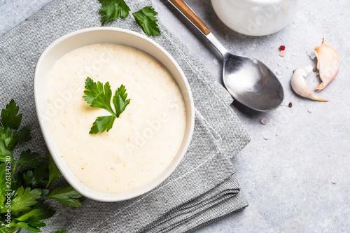 Obraz na plátně  Potato and chicken cream soup.