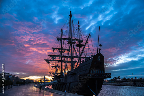 Galleon in the port of Valencia, Spain Canvas Print
