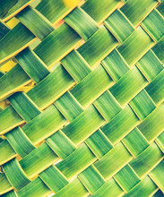 Abstract Zig Zag Interlocking Of Leaf , Leaf Green Woven Background