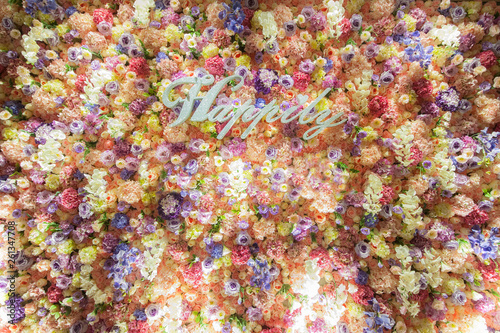 Fototapety, obrazy: Flower wall at the wedding reception, Beautiful flowers in the wedding