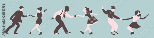 Fotografia  Three swing dance couples silhouettes on a green background