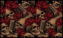 Seamless Pattern With Skulls, ...
