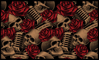 Fototapeta Róże Seamless pattern with skulls, microphones and roses
