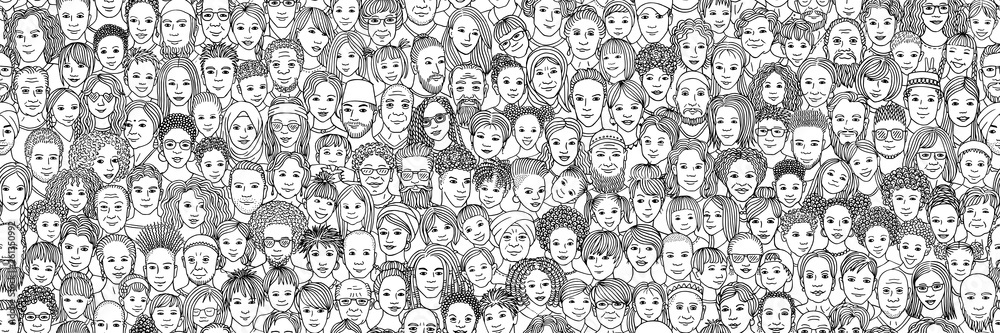 Fototapeta Diverse crowd of people: kids, teens, adults and seniors - seamless banner of hand drawn faces of various age groups and ethnicities