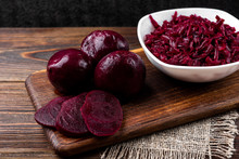 Boiled Beet On Dark Wooden Bac...