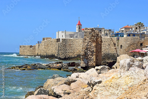 view of the fortress walls and St John's church, old city of Acre, Israel Canvas Print