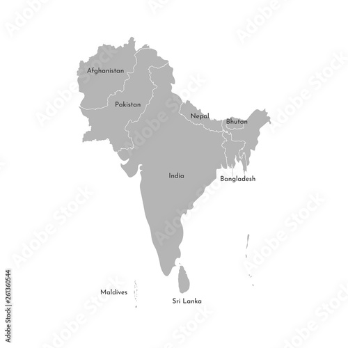 Vector Illustration Map Of Asian Countries South Region