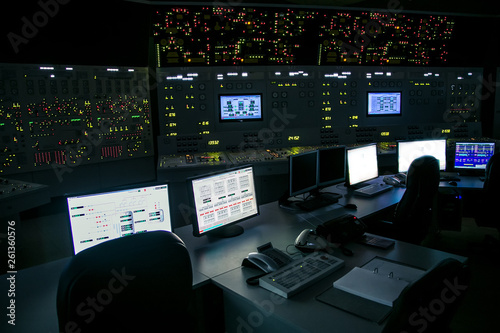 Vászonkép lock control panel of nuclear power plant operates on a backup power supply duri
