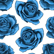 Blue Roses Vintage Seamless Pa...