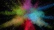 Super slowmotion shot of color powder explosion isolated on black background.