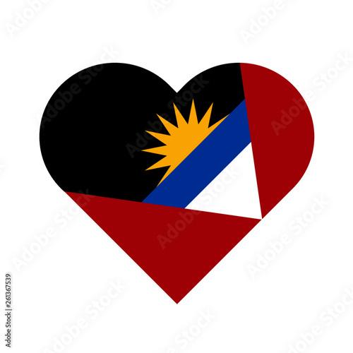 Fotografie, Obraz  Antigua and Barbuda Flag Heart Love Country National World Symbol