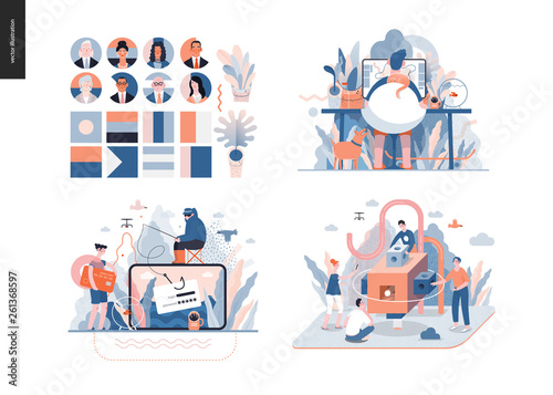 Pinturas sobre lienzo  Technology 3 set - modern flat vector concept digital illustration- Home office, Phishing, Brand, Political leaders meeting