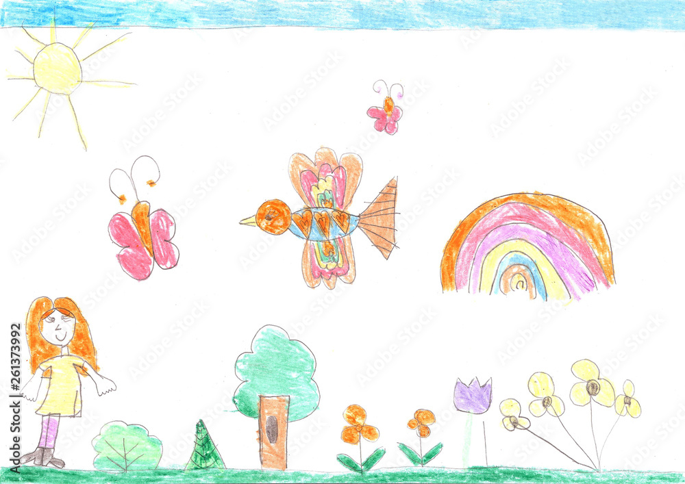 Fototapeta Child's drawing of a happy girl on a walk outdoors