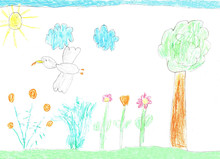 Children's Drawing Nature, Birds And Flowers