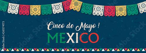 Pinturas sobre lienzo  Cinco de Mayo paper flag banner for mexico holiday