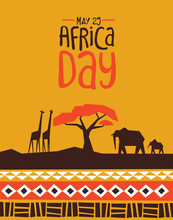Africa Day Card With Wild Safa...
