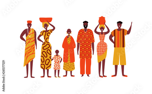 Fényképezés Isolated diverse african people group