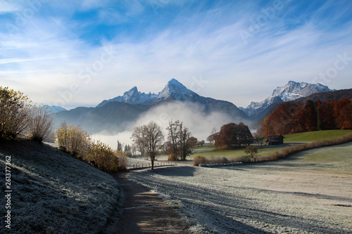 Montage in der Fensternische Khaki Mountain landscape in the Bavarian Alps with the top of the Watzmann