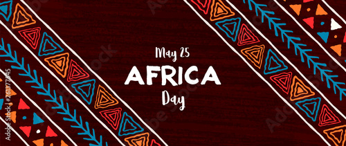 Africa Day banner of traditional african art - fototapety na wymiar