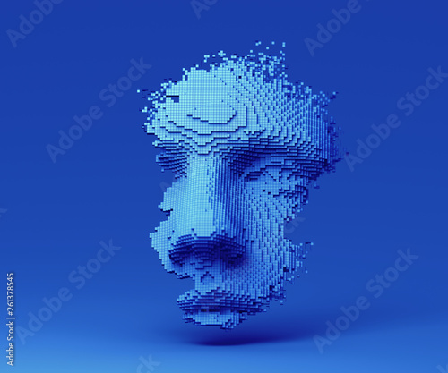 Fototapeta Abstract human face, 3d illustration, head constructed of cubes, artificial intelligence concept obraz