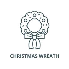 Christmas Wreath Line Icon, Vector. Christmas Wreath Outline Sign, Concept Symbol, Illustration