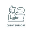 Client support line icon, vector. Client support outline sign, concept symbol, illustration