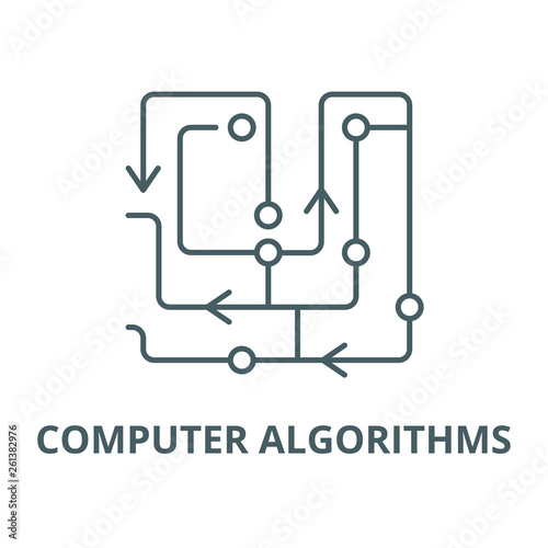Computer algorithms line icon, vector Wallpaper Mural