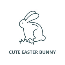 Cute Easter Bunny Line Icon, V...