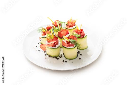 Fényképezés Involtini di zucchine ripieni di prosciutto e crema di formaggio