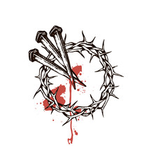 Image Of Jesus Nails With Thorn Crown And Blood Isolated On White Background