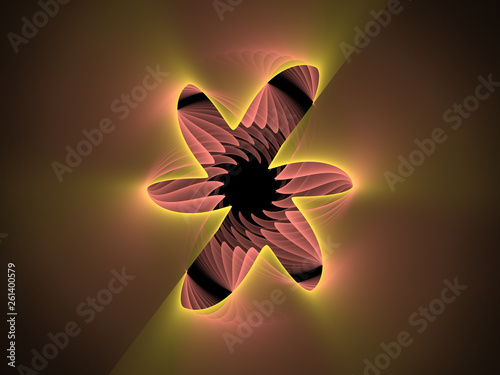 Abstract Background Image, Graphic Illustration Artistic Resource, Lines and Symmetrical Patterns, Glowing Yellow Neon Colors. Colorful Repeating Star Shaped Patterns, Modern Fractal Digital Art.