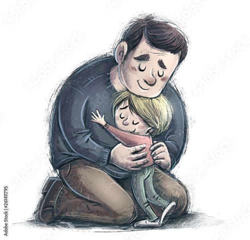 Carta da parati padre y hijo abrazandose