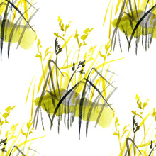 Watercolor Summer Field Herbs Seamless Pattern. Hand Painted Texture With Botanical Elements. Natural Repeating Background