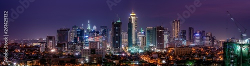 Wide panorama of Bonifacio Global city skyline at Magic hour