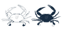 Blue Swimmer Crab Silhouette. Hand Drawn Outline Seafood Illustration.