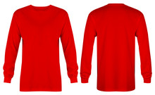 Blank Red T Shirt Long Sleeve Isolated On White Background. Ready For Your Mock Up Design Or Presentation Your Project
