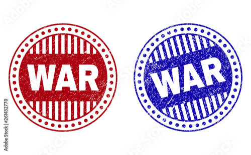 Grunge WAR round stamp seals isolated on a white background Wallpaper Mural