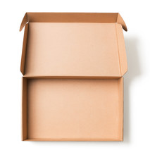 Open Cardboard Box Top View Isolated With No Shadows Clipping Path Included