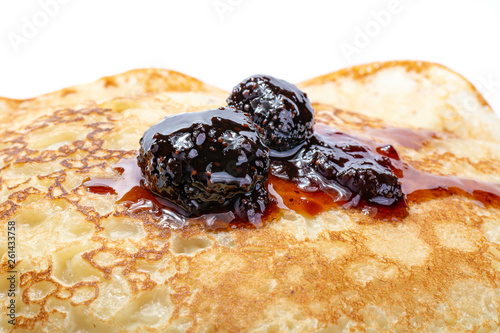 Acrylic Prints Stones in Sand Pancakes with strawberry jam