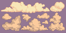 Clouds. Design Set. Hand Drawn Engraving. Editable Vector Vintage Illustration. Isolated On Color Background. 8 EPS