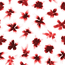 Loose Red Watercolor Florals. All Over Print.