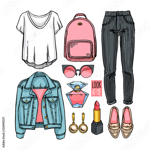 Fashion collection of girl clothing Wall mural